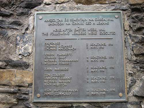Plaque remembering the Execution of the Leaders of the Easter Week 1916