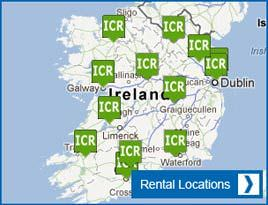 a map of Irish Car Rental's locations in ireland