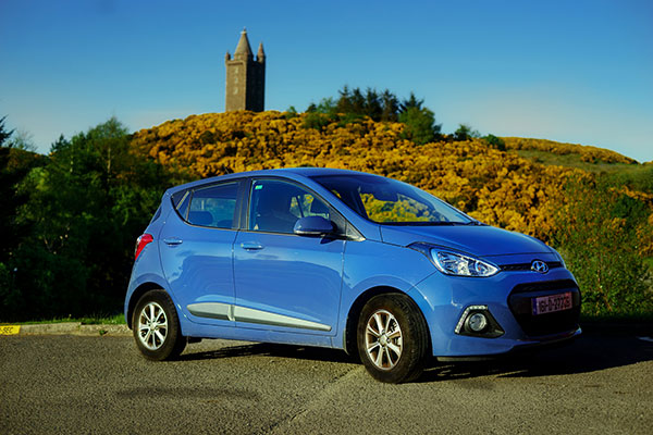 Rental car parked outside Scabo Tower in Northern Ireland