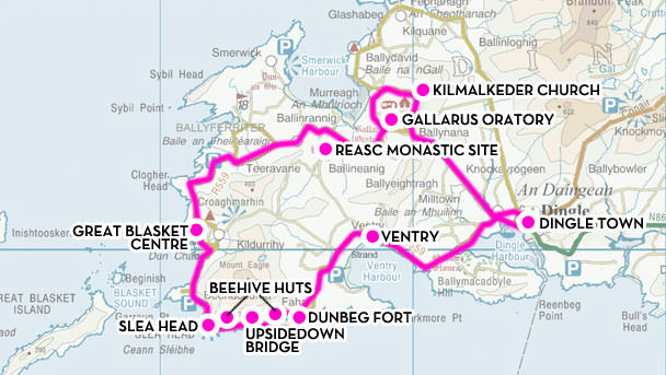 Slea Head route map